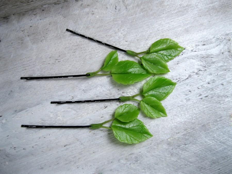 Mariage - Green leaf hair pin Leaf bobby pin Green hair accessory Green hair vine Green wedding bobby pin Woodland wedding Vine headpiece