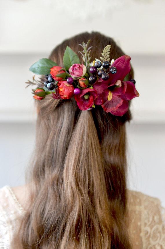 Burgundy Floral Bridal Comb Boho Hair Comb Silk Flower Back Hair Piece Wedding Flower Comb Red