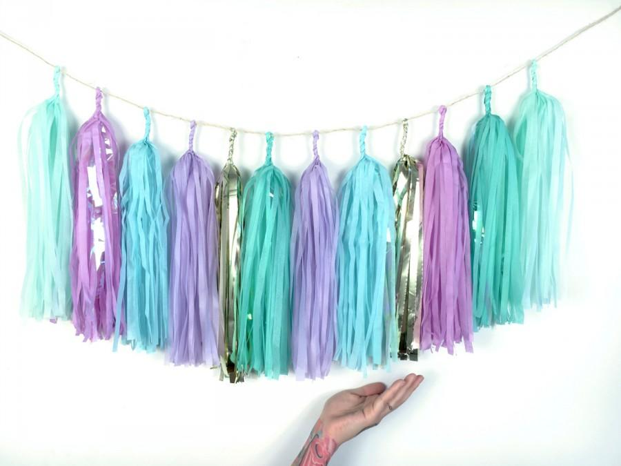 Teal Blue, Mint, Lavender Purple, Gold Tassel Garland - Mermaid ...