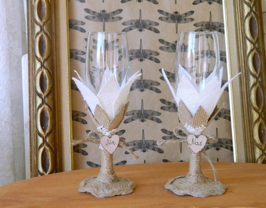 Wedding - Rustic Wedding toasting glasses, burlap, champagne, wine glass, toasting weddings, barn wedding MR and MRS, country wedding