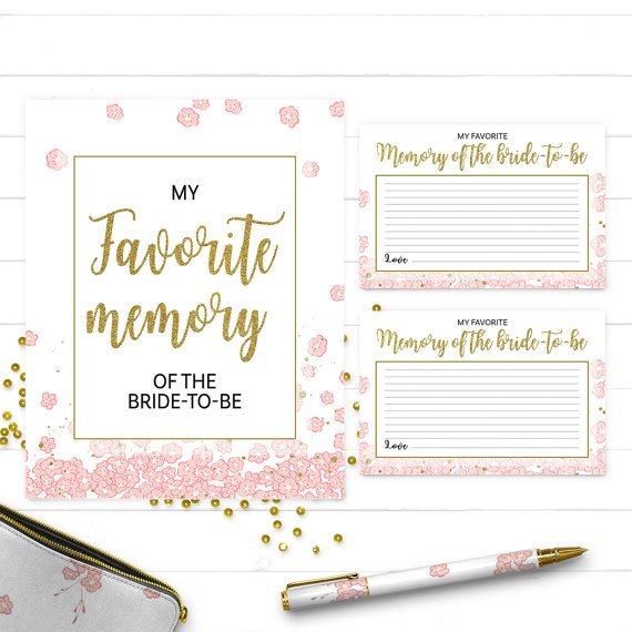 Boda - Gold and pink my favorite memory of the bride cards and sign-Printable Golden Glitter Bridal Shower, Bachelorette, Wedding Shower Activity