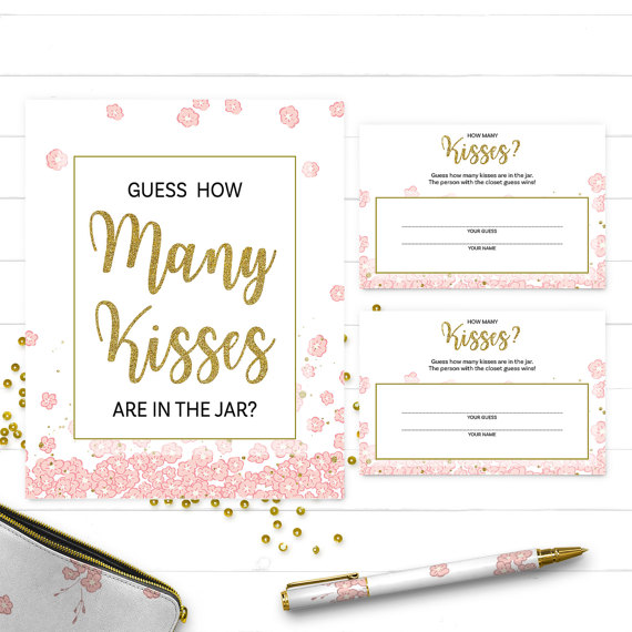photograph regarding Guess How Many in the Jar Printable called Purple And Gold How Quite a few Kisses Bridal Shower Printable Sport