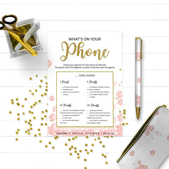 Wedding - Pink and Gold What's on Your Phone Bridal Shower Game-Glitter Modern Floral Printable Personalized Bridal Shower Game-Bridal Shower Games