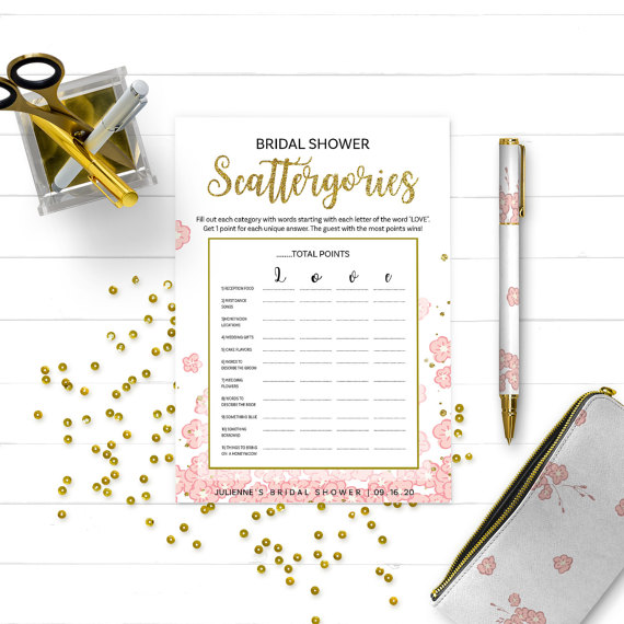 Mariage - Gold and Pink Bridal Shower Scattergories-Golden Glitter Printable Bridal Scattergories-DIY Floral Bridal Shower Games-Bridal Shower Game