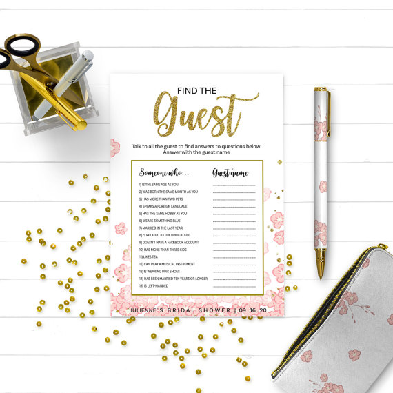 pink and gold bridal shower find the guest golden glitter floral bridal shower find the guest printable game diy bridal shower ask the guest