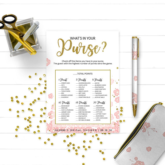 photo regarding Bridal Shower Purse Game Printable named Gold And Crimson Whats Within just Your Purse Bridal Shower Recreation-Golden