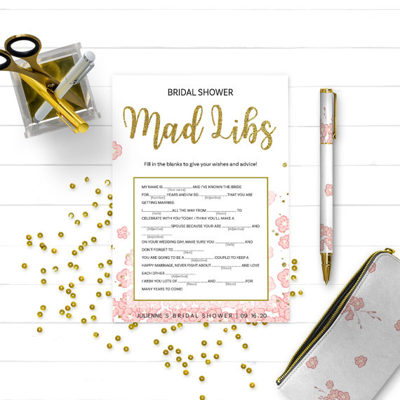 Boda - Pink and Gold Bridal Shower Mad Libs Game-Golden Glitter Floral DIY Printable Mad Libs Game-Personalized Bridal Shower Game-Bridal Mad Libs