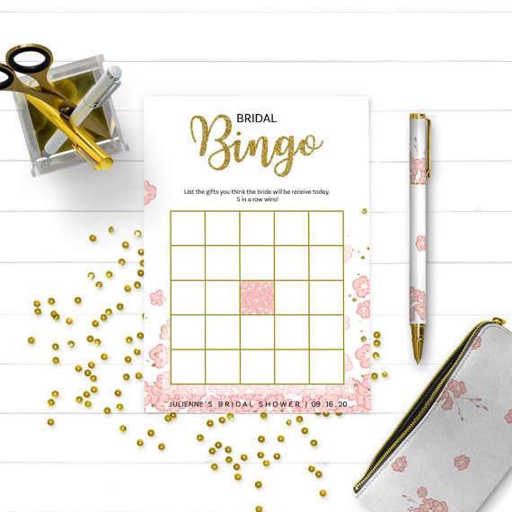 Boda - Pink and Gold Bridal Shower Bingo-Golden Glitter Personalized Bridal Bingo-Pink Floral Bridal Shower Game-DIY Printable Bridal Shower Games