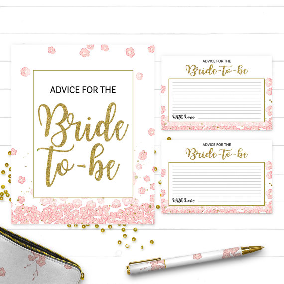 Pink and gold advice for the bride card and sign golden for Bridal shower advice cards template