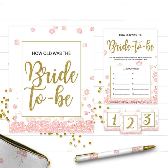 Pink And Gold How Old Was The Bride To Be Bridal Shower Game Diy Golden Glitter Fl Printable Cards Sign
