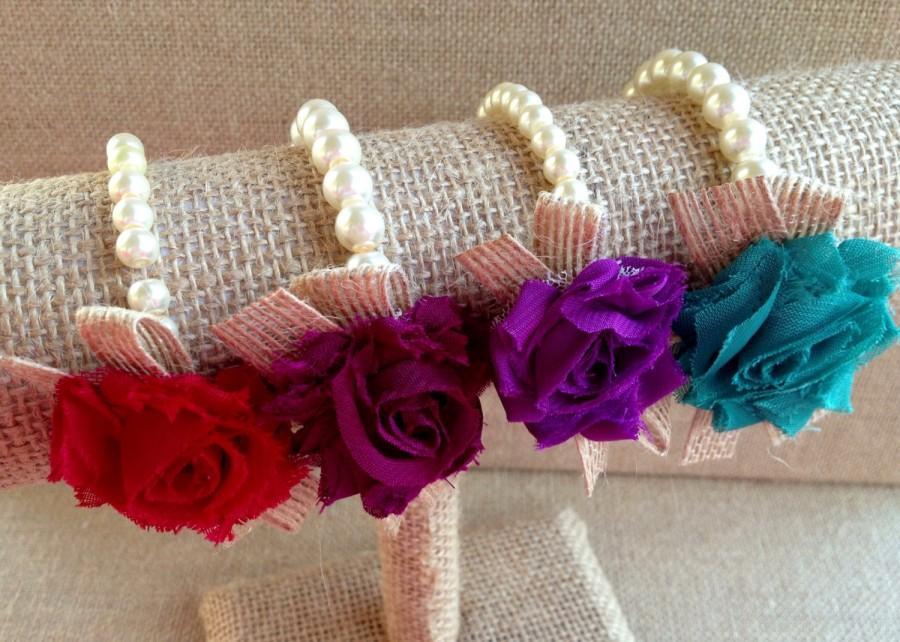 Hochzeit - Custom pearl bracelet, corsage, flower girl gift, birthday gift, bridesmaid gift, baby shower gift, bridal jewelry, ribbon and pearl jewelry