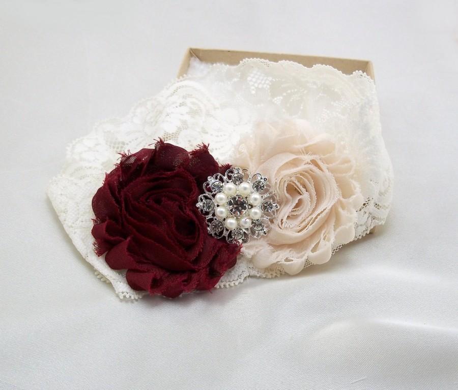 Mariage - Wine Burgundy Wedding Garter Set, Bridal Lace Garter Set, Shabby Flower, Vintage Style Ivory Stretch Lace, Rhinestone Keepsake, Lc-B/BtnChc