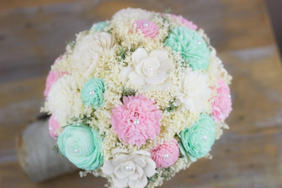 Свадьба - Bridal Bouquet,Romantic Bridal Bouquet,Mint,Pink,Ivory Sola Flower Bouquet, Keepsake Bouquet, Rustic Bouquet,Alternative Bridal Bouquet