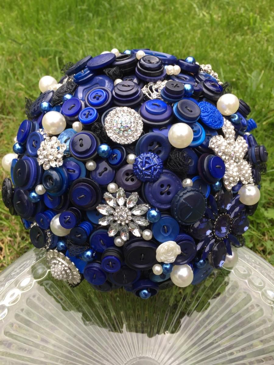 Wedding - Navy blue button and brooch large bridal bouquet with vintage charms