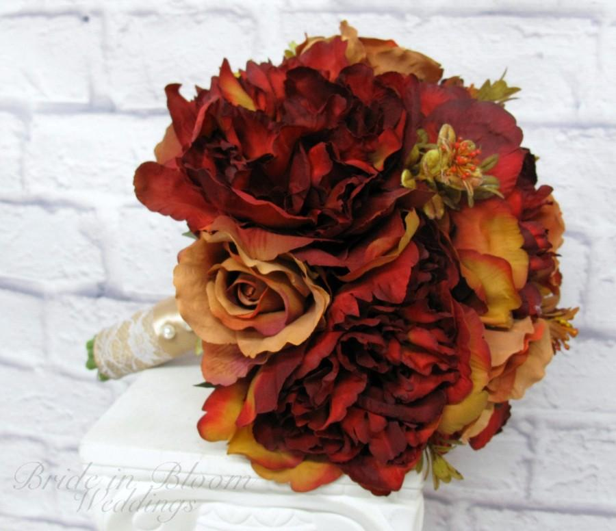 Свадьба - Fall Wedding bouquet - Bridal bouquet - Burgundy gold fall peonies and roses - Silk wedding flowers