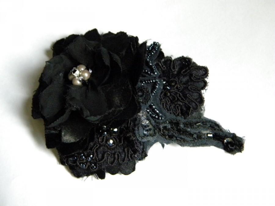 Mariage - Gothic Bridal Hair Fascinator,  made to order, Dark Gray Beaded Headpiece, Black Satin Foral Head Piece, Wedding Accessory