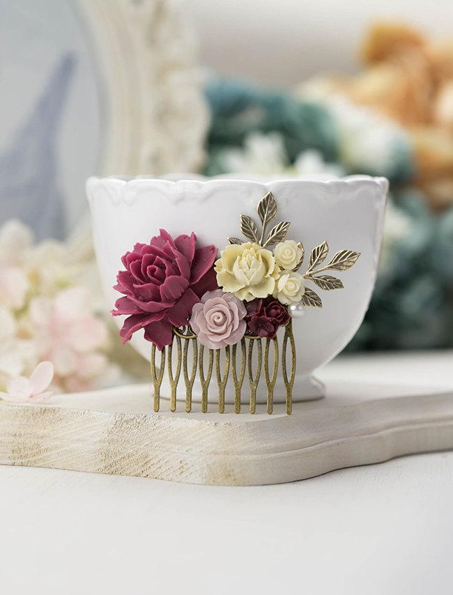 Mariage - Marsala Wedding Hair Comb Plum Maroon Burgundy Dusty Pink Flower Antiqued Gold Leaf Branch Bridal Hair Comb Bridesmaid Gift Country Wedding