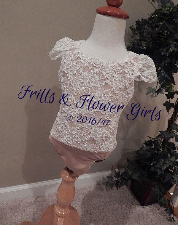 Mariage - Ivory Lace Flower Girl Top with CAP Sleeves and Nude or IVORY lining - Ivory Lace Bodysuit Onesie Leotard Girls Sizes 12 Mo to Size 12