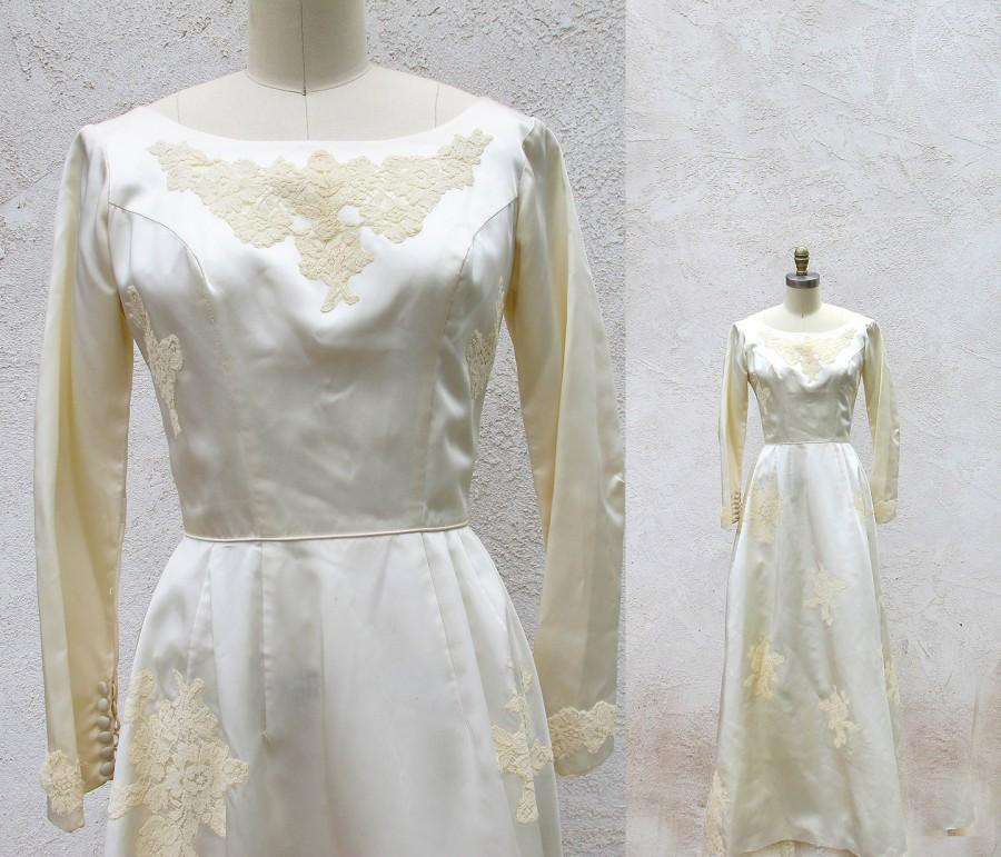 Vintage Wedding Dresses Usa: Vintage 50s Wedding Dress, Satin And Lace Bridal Gown