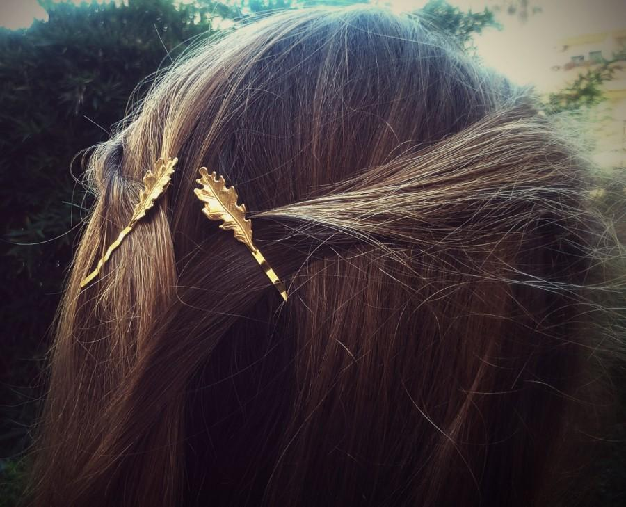 Mariage - Small Gold Oak Leaf Bobby Pins Leaves Hair Pins Leaf Hair Clips