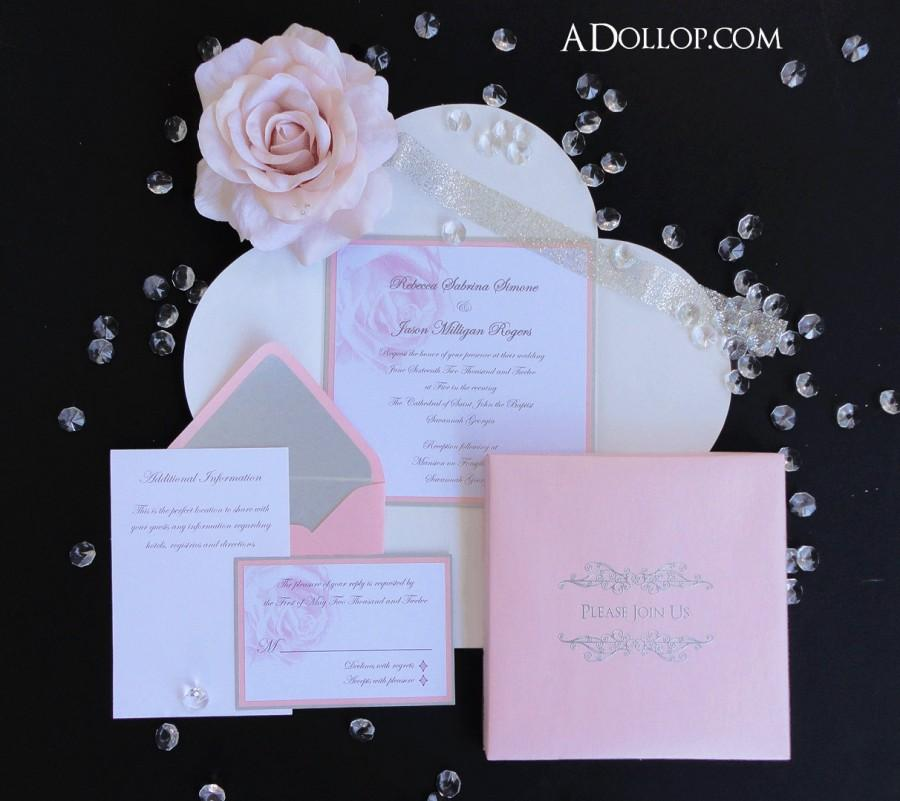 Mariage - Unique Romantic Light Pink & Silver Sparkling Rose Boxed Wedding Invitation - Vintage  Silver  White  Sparkle  Bling