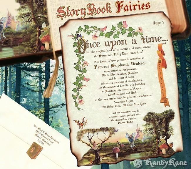 Mariage - Qty 50 Wedding invites birthday, sweet 16, anniversary, party, Invitations Storybook fairy tale cinderella Scroll