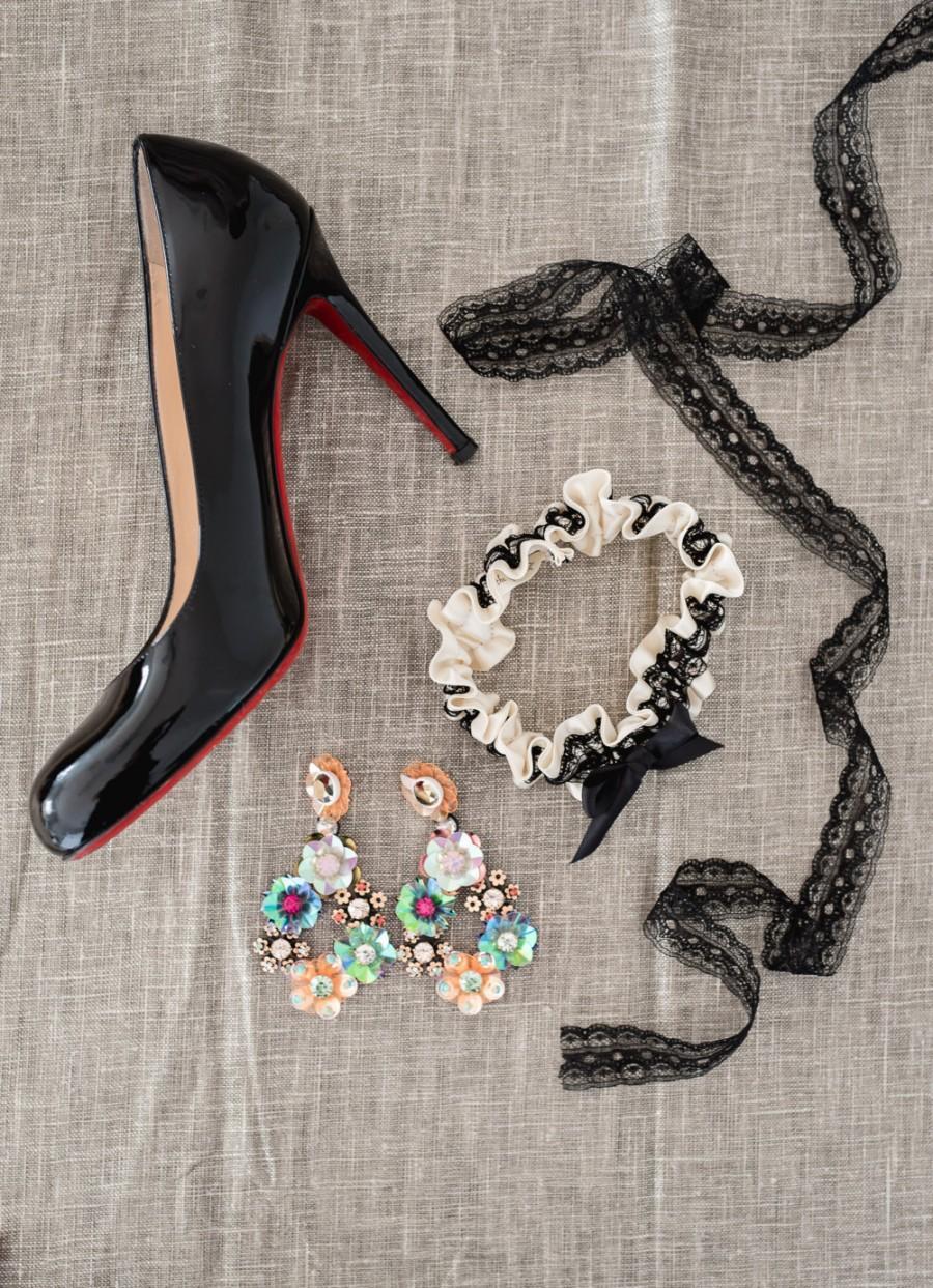 Mariage - Lace Garter Set, Lace Wedding Garter Set, Lace Bridal Garter, Black Lace Bridal Garter Set, Lace- Elegant Lace Garter Set by The Garter Girl