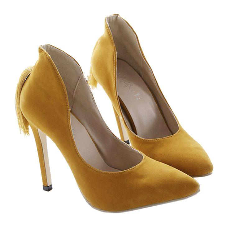 زفاف - Back Heel Tassel Pointed Thin High Heel Low-cut Wedding Shoes Yellow 35