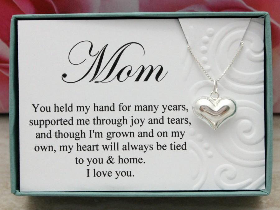 Mother Of The Groom Gift: Gift For Mom From Bride Or Groom 925 Sterling Silver Heart