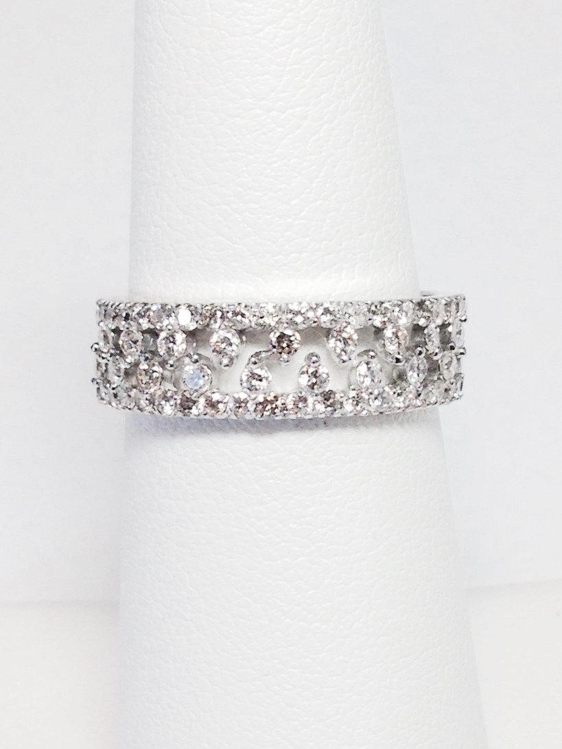 14K White Gold Art Deco Antique Style Half Eternity Band Stackable Band Anniversary Band Wedding Band Yellow Gold Rose Gold Platinum 18K