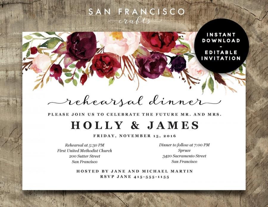 Свадьба - Rehearsal Dinner Invitation INSTANT DOWNLOAD