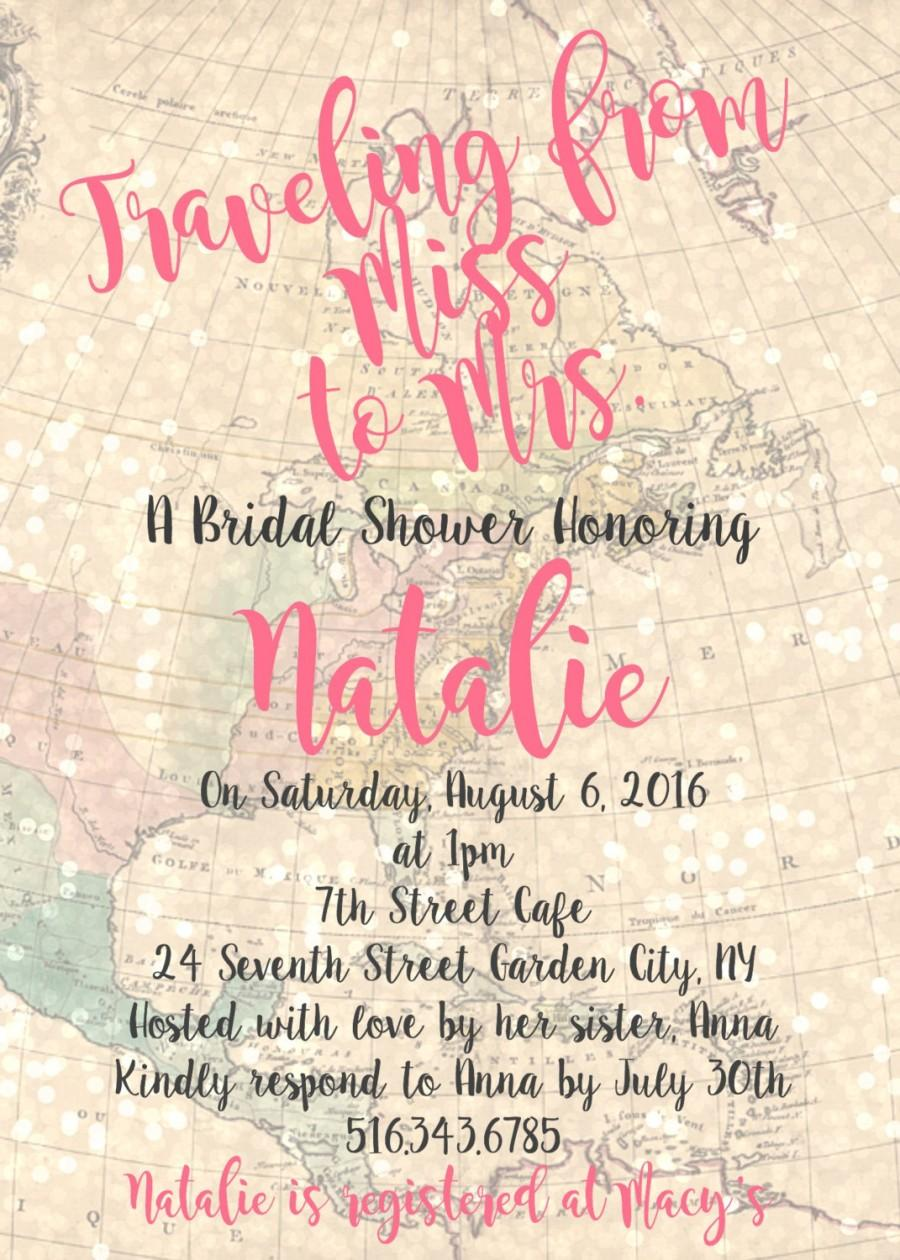 Mariage - Traveling from Miss to Mrs. - 5x7 Printable DIY Digital Vintage Map Bridal Shower Invitation