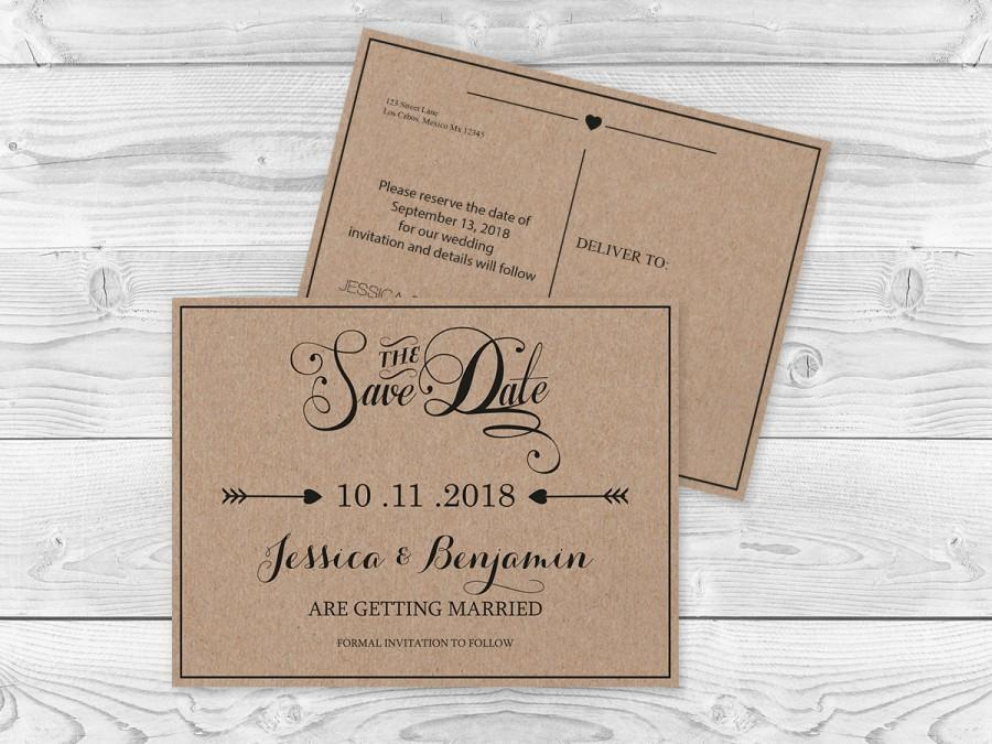 Kraft Paper Save The Date Postcard Templates  Rustic Calligraphy