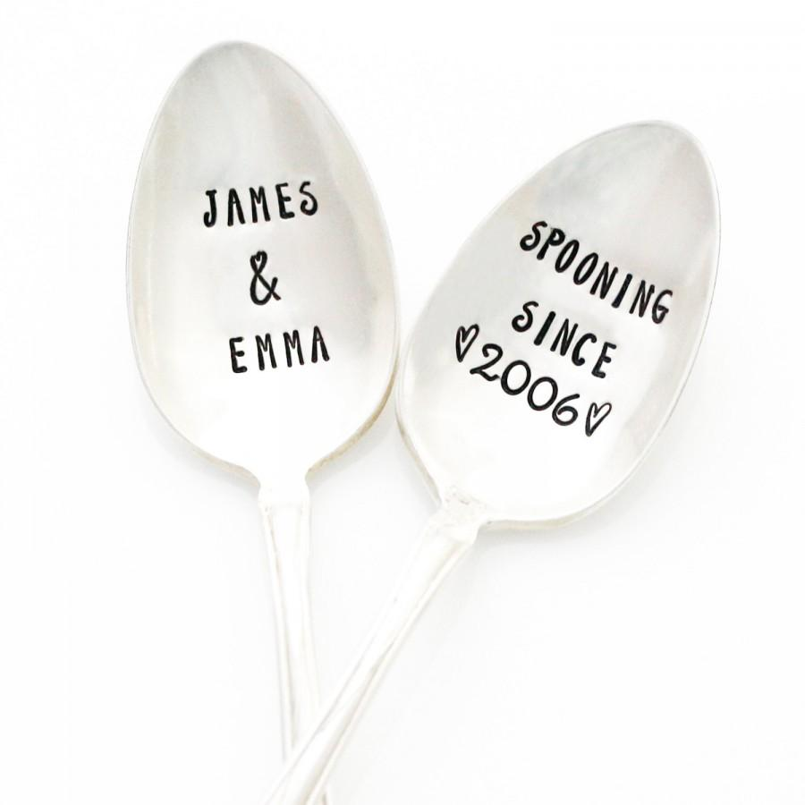 Wedding - Personalized Spooning Since Spoons with Your Names and Anniversary Year. Stamped Silverware, Couples Gift Idea by Milk & Honey.