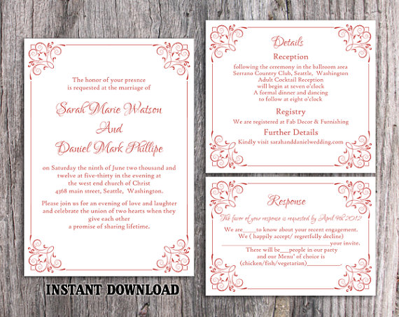 Düğün - DIY Wedding Invitation Template Set Editable Word File Instant Download Printable Invitation Wine Red Wedding Invitation Elegant Invitation