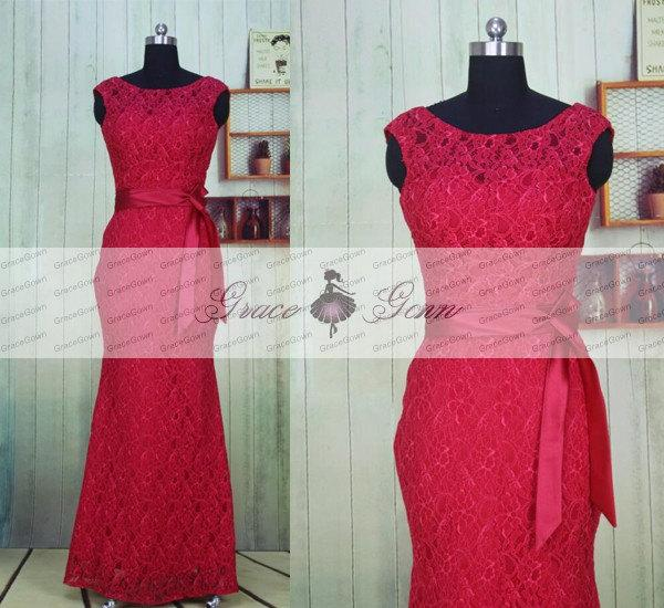 Mariage - Lace Bridesmaid Dresses,Mermaid Prom Dress,Sexy Bridesmaid Dress,Long Formal Dress,Evening Dress,Wedding Party Dress,Red Prom Gown 2017