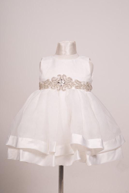 Свадьба - Elegant Flowergirl Christening baptism dress beautiful rhinestones sash