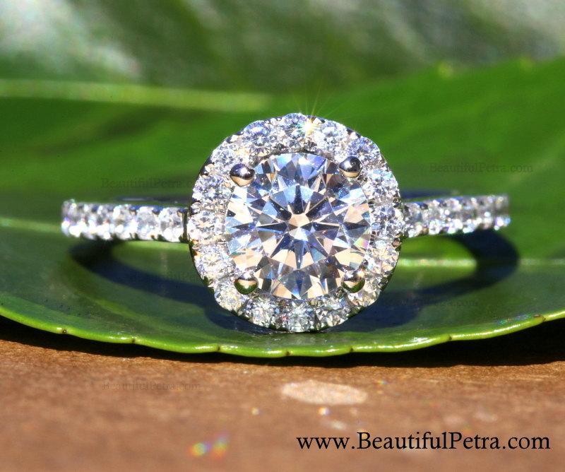 Свадьба - 14k White gold - Diamond Engagement Ring - Halo - 3/4 carat center - Pave - Weddings- Luxury- Brides - Bp005