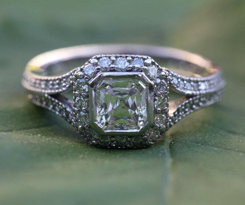 Wedding - HALO Diamond Engagement Ring - Modified Asscher E/VS1 Center Diamond - Bezel set - 18K White Gold - Antique Style - weddings - Bph018