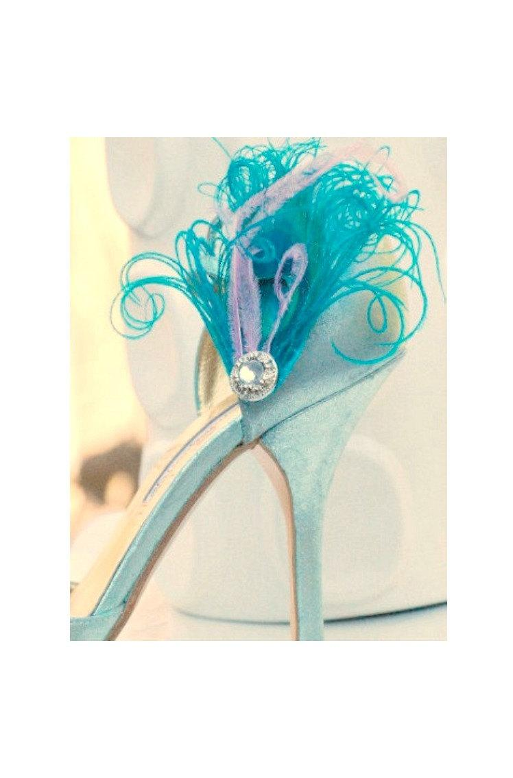 Mariage - Something Blue Shoe Clips. Turquoise Peacock Lavender / Lilac & Rhinestone Big Day. Couture Statement Chic Spring, Bride Bridal Bridesmaids