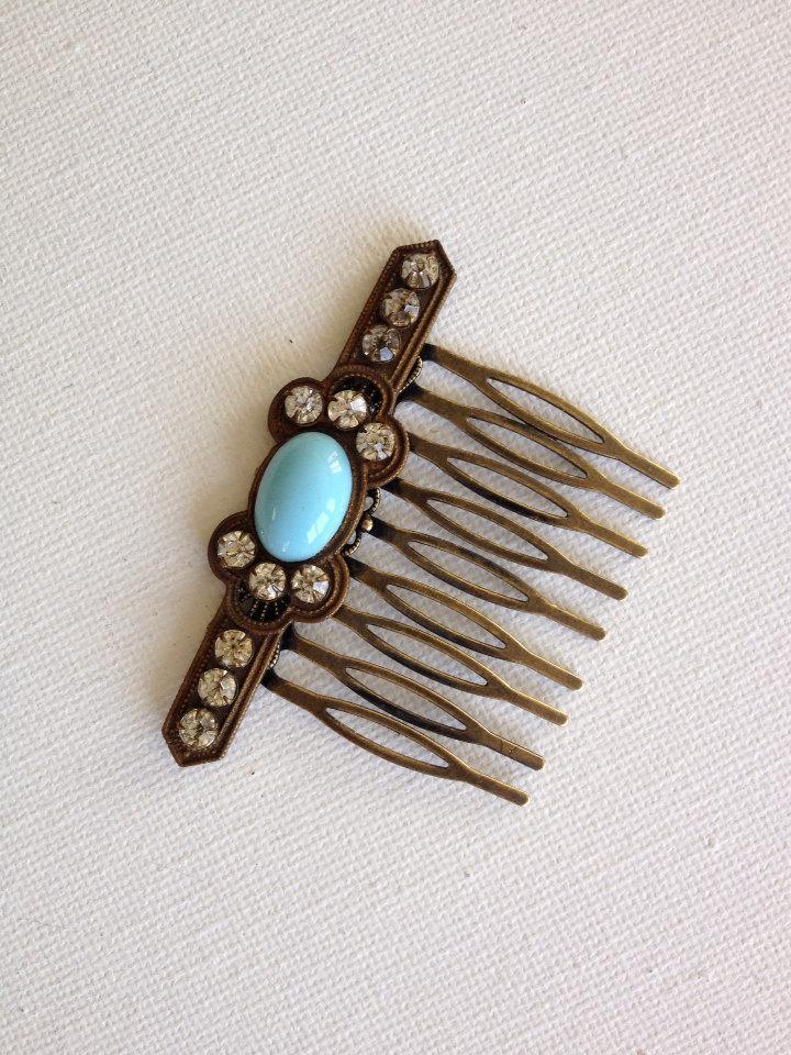 Свадьба - Bridal hair comb, vintage, accessory, repurposed, jewelry, OOAK, hair, bridal vintage, true vintage, wedding, Persian turquoise, art deco