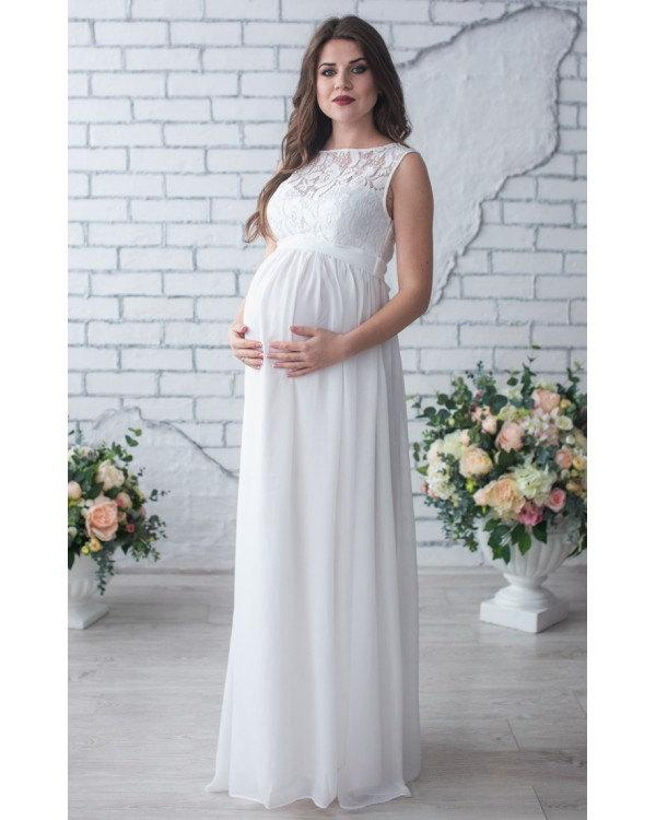 White Long Dress Pregnantmaternity Gown For Photo Shootbridesmaid