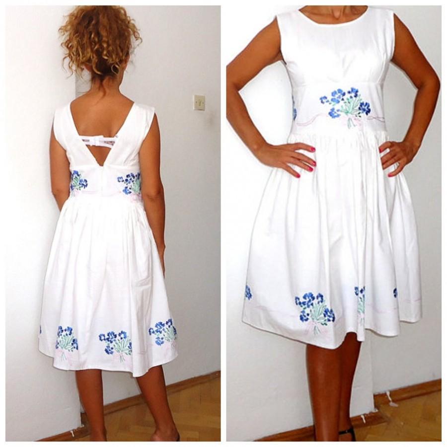 Wedding Dress -Women s white dress- white flowers Open Back Dress- Summer  wedding dress Vintage inspired needle embellishments midi sundress df99983f27