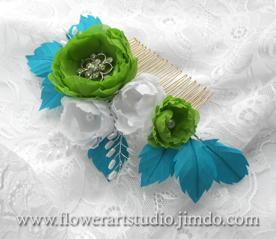 Wedding - Bright Green and Turquoise Flower Comb, Headpiece, Pearl and Flower Bridal Comb, Blue and Green Bridal Hair Flower, Bridal Hair Comb.