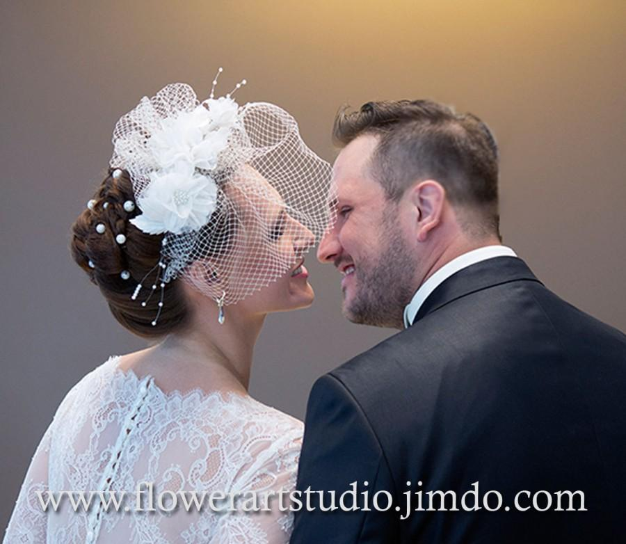 Mariage - Bridal Headpiece, Birdcage Fascinator, Birdcage Veil, Bridal Hair Flower, Bridal Headband, Bridal Blusher veil, Bridal Hair Accessories.