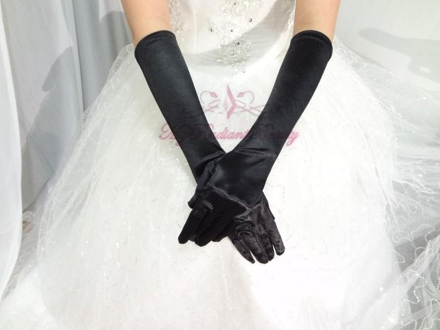 Свадьба - Bridal Black Gloves, Bridal Gloves, Black Satin Long Full Finger Bridal Gloves, Wedding Gloves, Wedding Accessory BG0016B