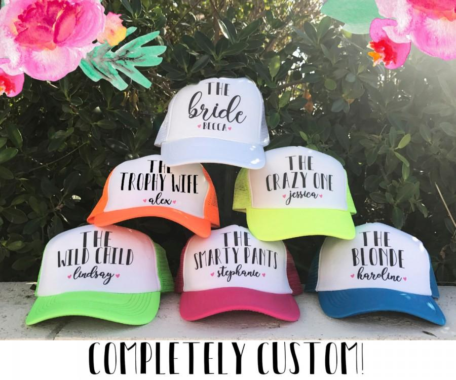 Свадьба - NEON Bachelorette Party Hat / TOTALLY CUSTOMIZABLE / Name and Funny Personality / 10 colors / Great for Vegas Miami Mexico Pool Parties