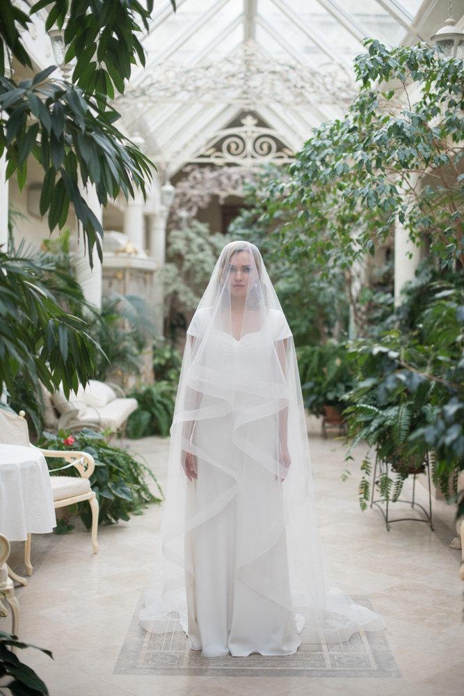Свадьба - Horsehair Veil, Bridal Veil, Horsehair Drop Veil, Wedding Veil, Horse Hair Wedding Veil, Ribbon Edge Wedding Veil, Cathedral Veil
