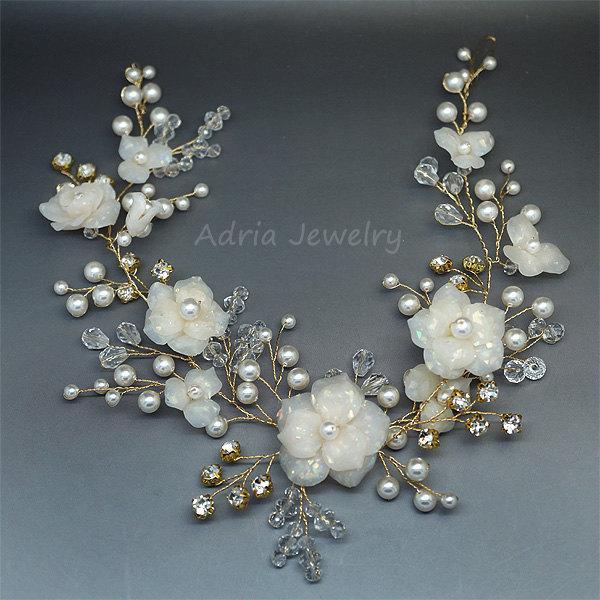 زفاف - Gold Bridal Hair Vine,  Wedding Headpieces with Flowers and Leaves, Crystals Rhinestone Bridal Combs, Large Wedding Hair Pieces for Brides