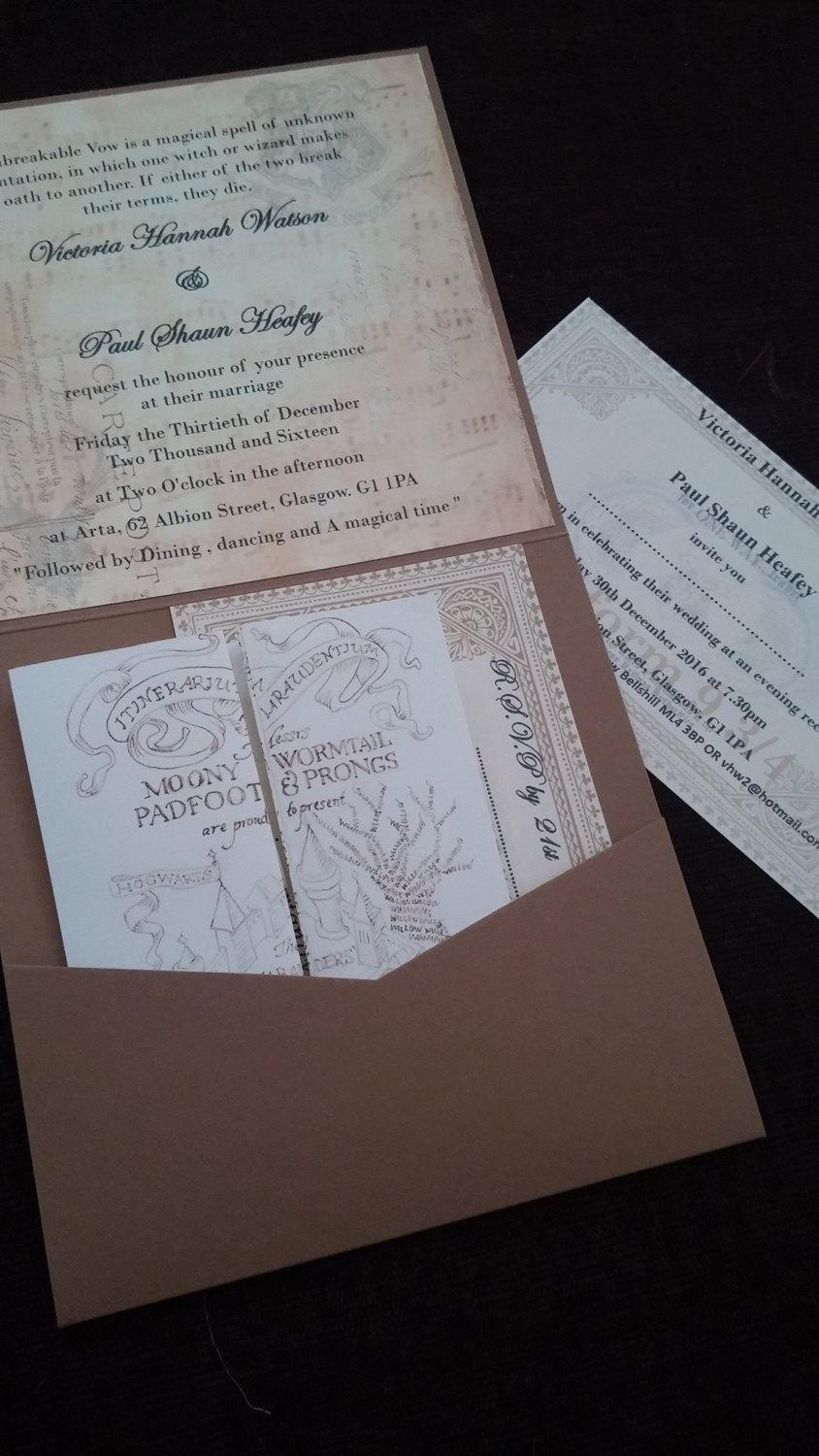 Свадьба - Bespoke vintage fully customised handmade Harry Potter inspired wedding party invitations